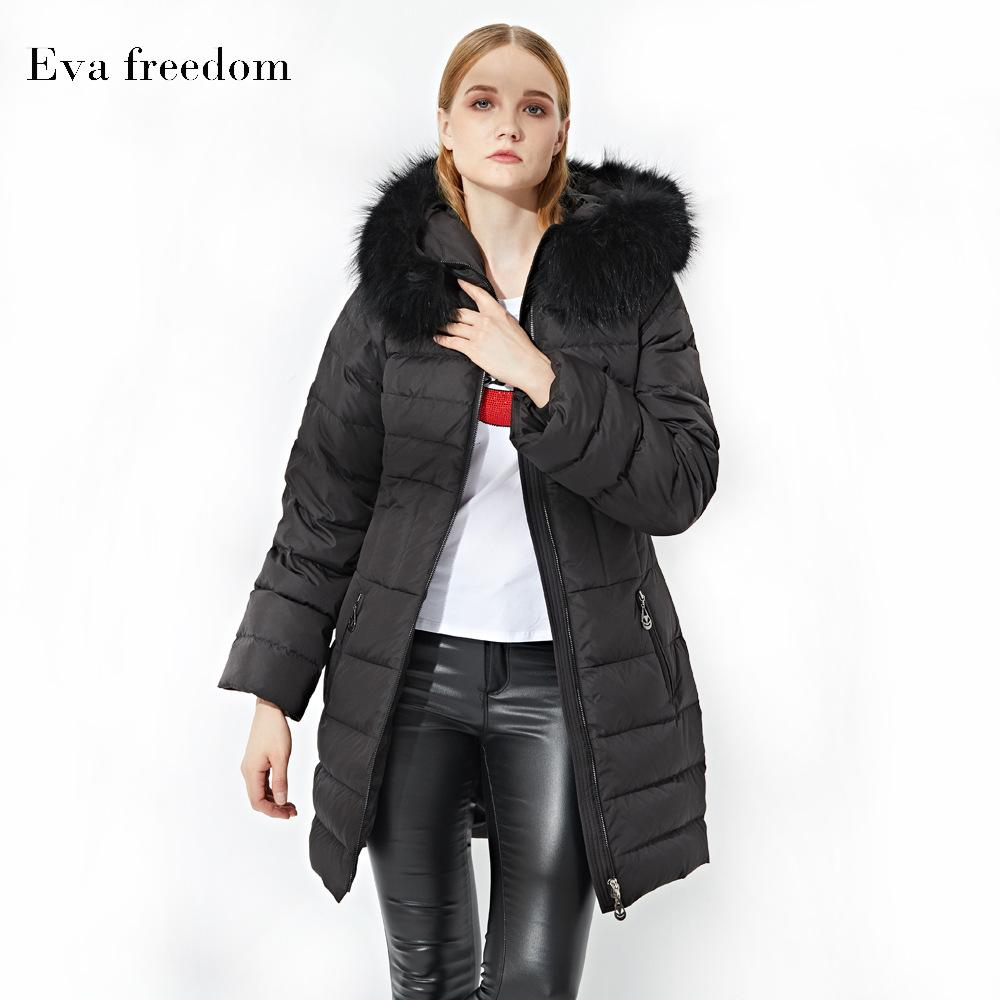 2019 Winter New Style Europe And America WOMEN'S Dress Hooded Coat a Generation of Fat Raccoon Dog Large Fur Collar WOMEN'S down