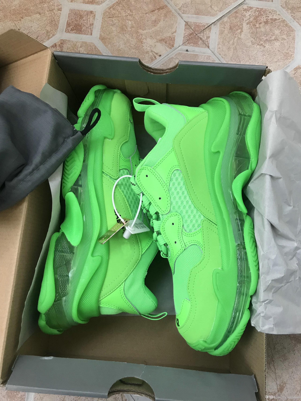 2020 Paris Triple S Kristall Bottom Grün Weiß Tripler Frauen der Männer Laufschuhe Boots-Plattform-Turnschuhe Frauen Sports Dad Schuhe