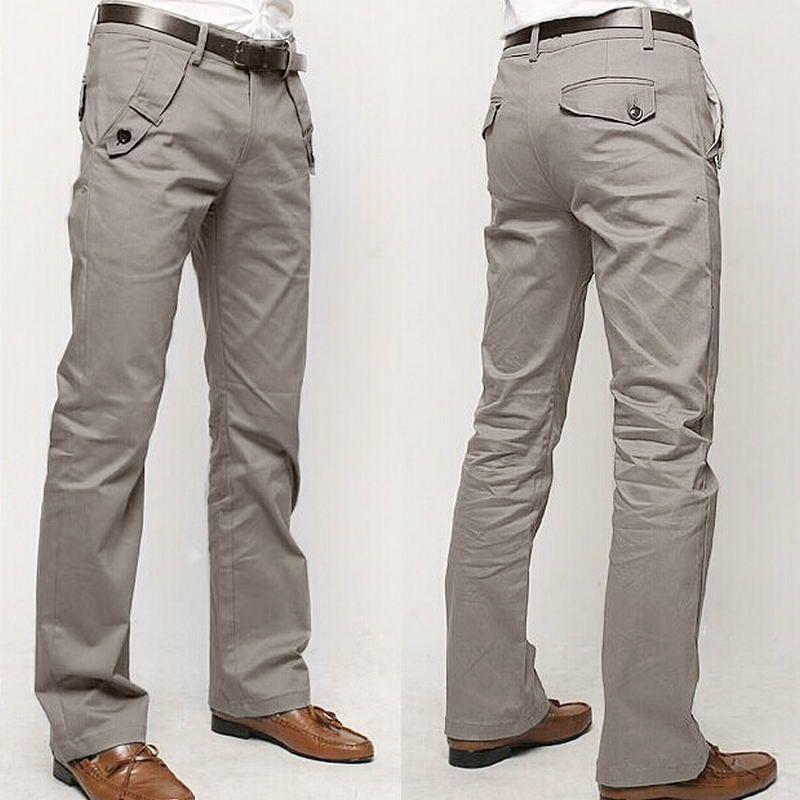 2019 New Design Casual Men Pants Cotton Slim Pant Straight Trousers Fashion Business Solid Khaki Black Pants Men Plus Size 36