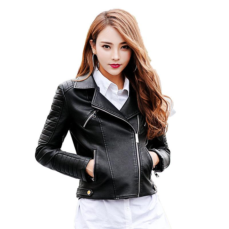 New Fashion Women Black Motorcycle Faux Leather Giacche da donna Manica lunga Autunno Inverno Biker Streetwear Cappotto giacca nera 045