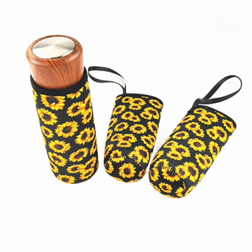 Neoprene Wwater Bottle Sleeve Cover Bottle Cooler Flamingos Print Insulated Anti-ironing Glass Bottle Cover Sleeve Bags Cups Case D3503