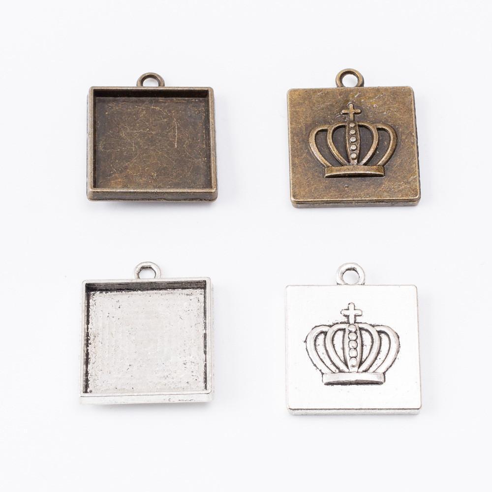 30pcs 27 * 23MM Fit 20MM bronze antique carré couleur argentée de base pendentif ébauche de couronne cabochon réglage plateau estampage métal lunette