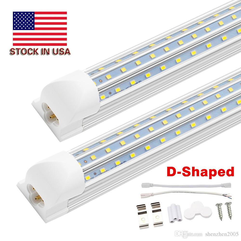 업그레이드 4ft 8ft t8 tntegrated led tube light, 120w 12000lm, 멋진 흰색, 트리플 행 576leds, 상점을위한 높은 밝은 D 형 LED 전등 설비