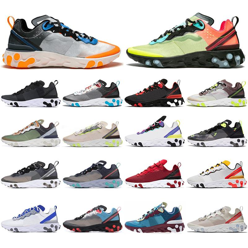 Nike 2019 Chaussure meilleures chaussures de sport pour hommes React Element 87 55 Undercover X Chaussures de sport griffées gris rouge royal