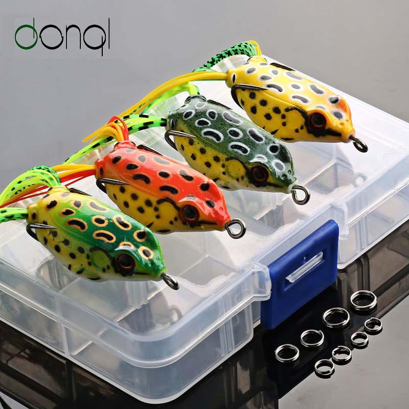 Cheap Lures DONQL 4pcs/box Frog Soft Fishing Lures Kit Snakehead Lure Topwater Floating Ray Frog Artificial Bait isca Killer Winter Fishing