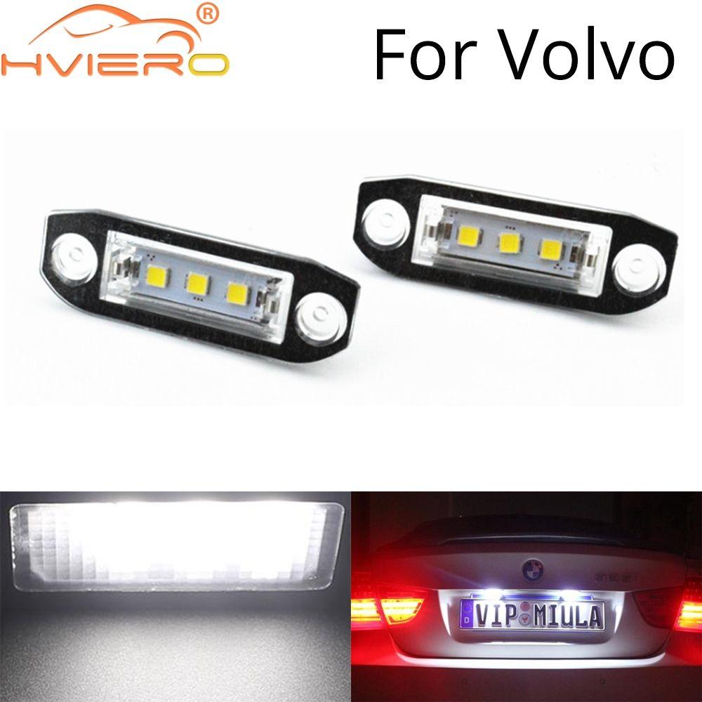 2 قطع كانبس led السيارات مصباح 12 فولت أضواء لوحة ترخيص السيارة 6500K أبيض ل فولفو S80 XC90 S40 V60 XC60 S60 C70 V50 XC70 V70