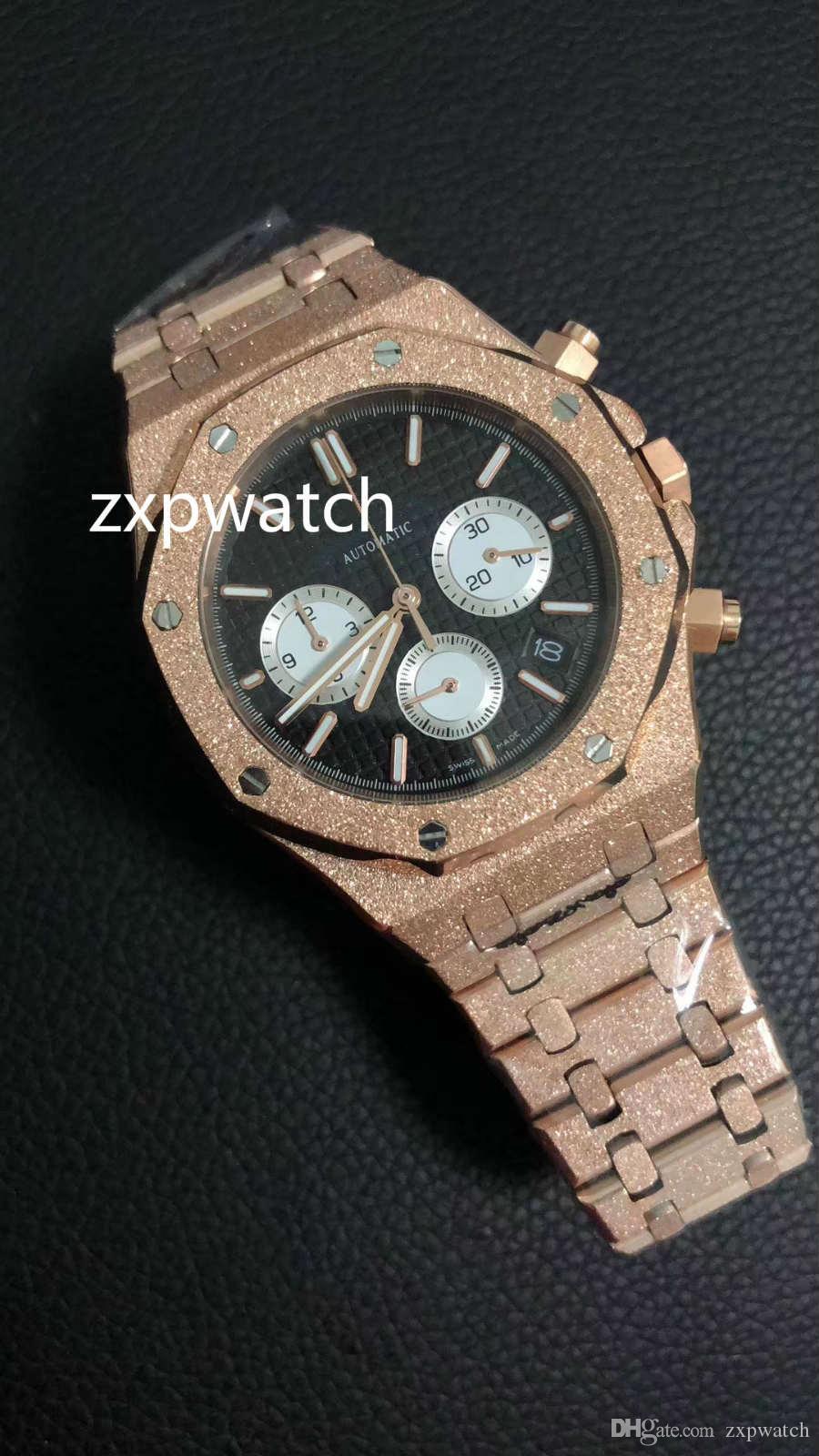 Высокого качество FROSTED розового золота конструкторы Все стали Multi-Color коммутируемых 42мм Япония кварцевого механизм хронограф VK спортивные мужских часы