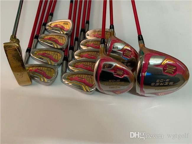 Женщины Honma S-06 Полный комплект Honma S-06 Golf Set Женщины Гольф-клубы Driver + Фарватер Woods + Утюги + Putter Вал графита С Крышка головки