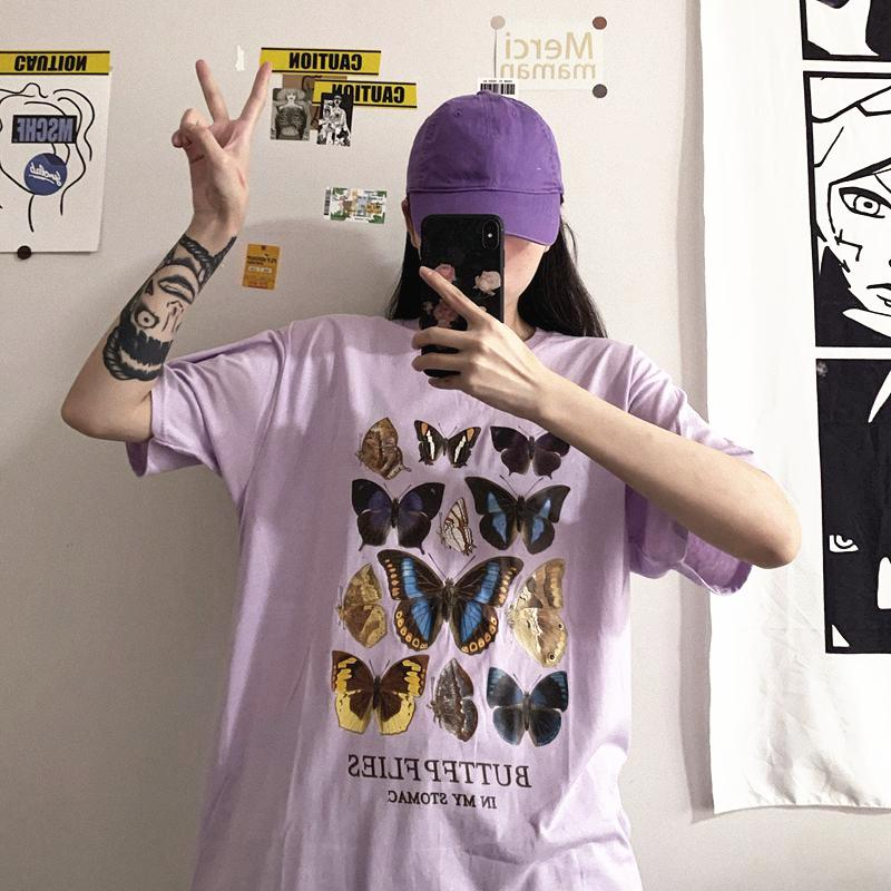 Summer Style Coréen Ins Harajuku style rétro impression papillon All-shirt loose match de talonnage avec T-shirt à manches courtes Tops pour les femmes