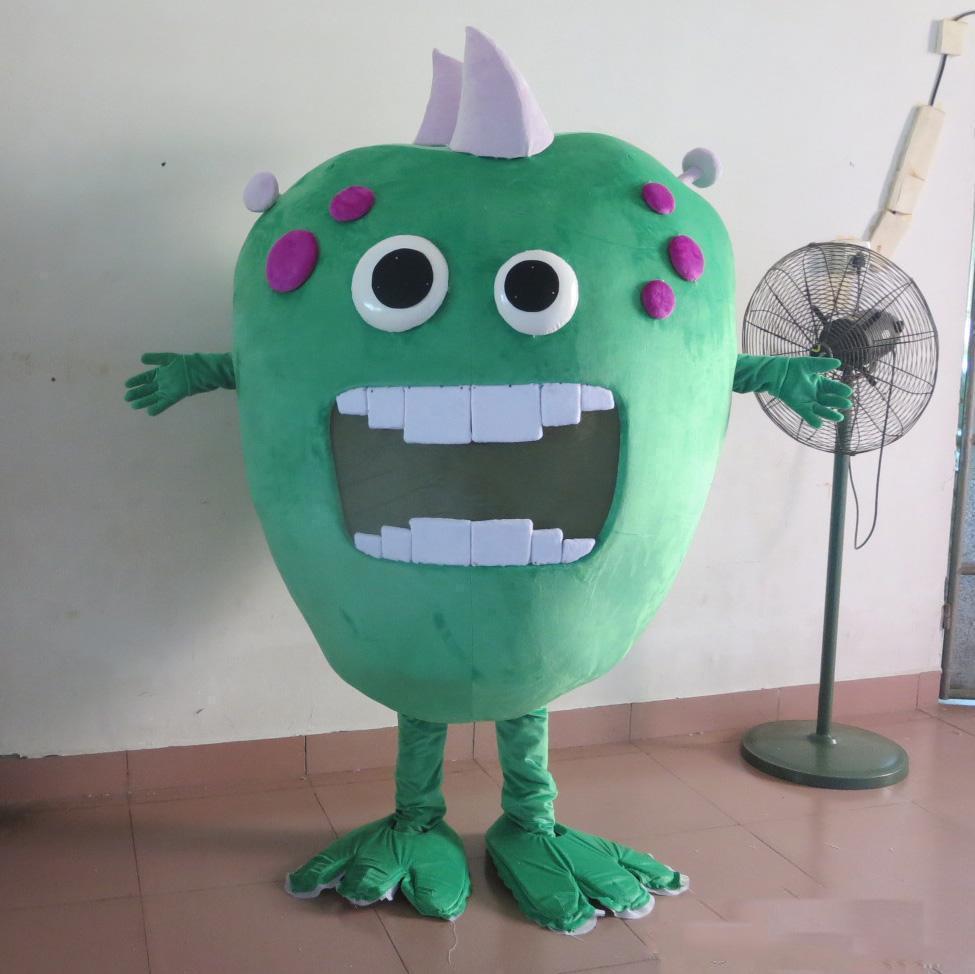 2020 новый завод прямые продажи большой рот зеленый зародыши бактерий монстр костюм талисмана для взрослых для продажи