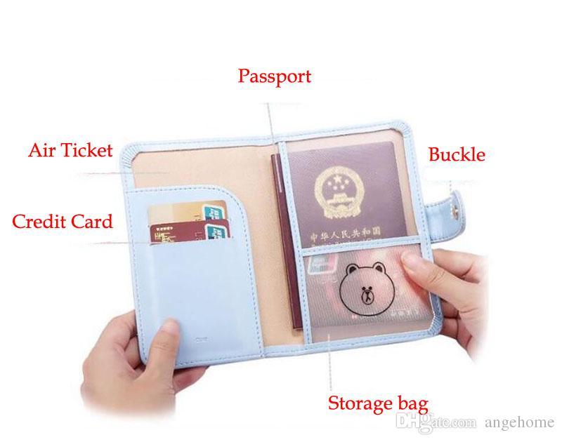 Travel Passport Cover - Foldable ID Credit Card Holder Money Wallet Cute Womens Girls Multifunction Storage Passport Holder 16*11cm