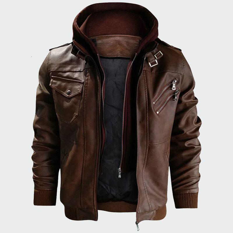 Couro dos homens Casacos Outono Nova Casual Motorcycle PU Leather Jacket Coats homens Faux Jacket Mens Marca Roupa ML212 T191027