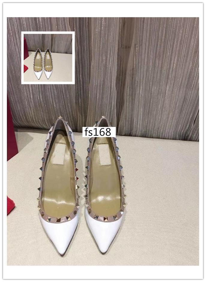Дизайнерские шпильки высокие каблуки кожаные заклепки сандалии Женская обувь Валентина туфли на высоком каблуке 8,5 см с коробкой