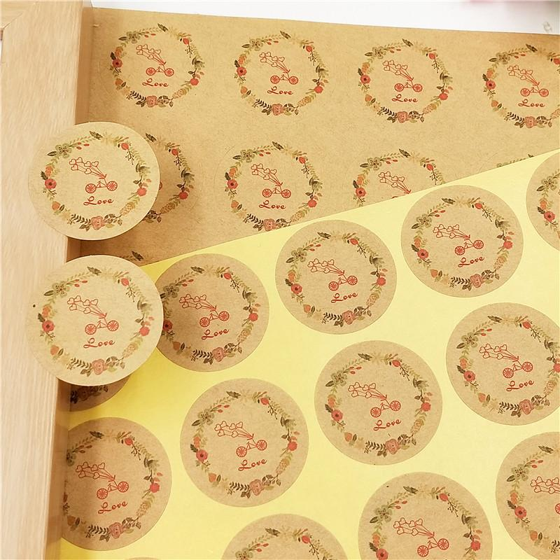 Hand Made with Flower Craft Paper Stickers Packaging Gift Seal Sticker Hot New