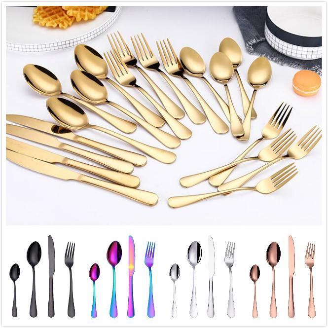 Conjuntos de cubiertos de oro de acero inoxidable Cuchara Tenedor Cuchillo Cuchara de té Juego de vajilla Utensilio de barra de cocina Utensilios de cocina