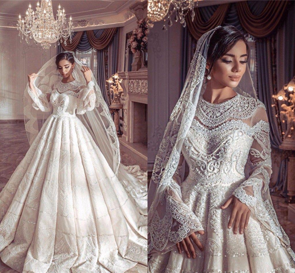 2019 Vintage Champagne Poet Mangas Compridas vestido de Baile Vestidos de Casamento de Luxo India Arábia Saudita Dubai Lace Appliqued Plus Size Vestido de Noiva