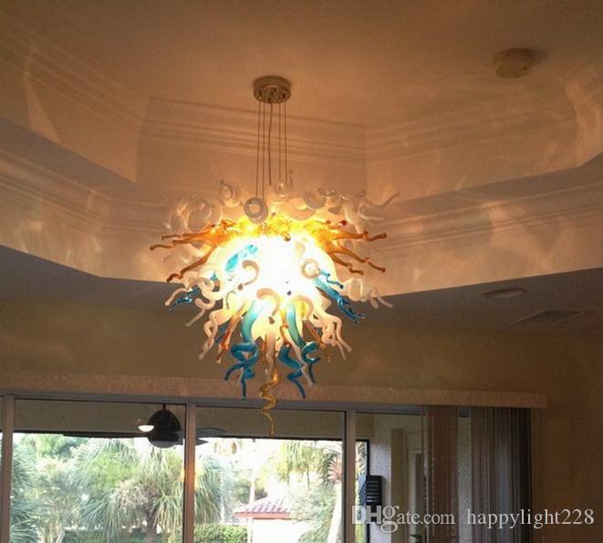 100% soffiato a bocca Soffiato Pendente multicolore borosilicato Vetro di Murano Lampada Dale Chihuly Art Living Room a mano Lampadario in vetro