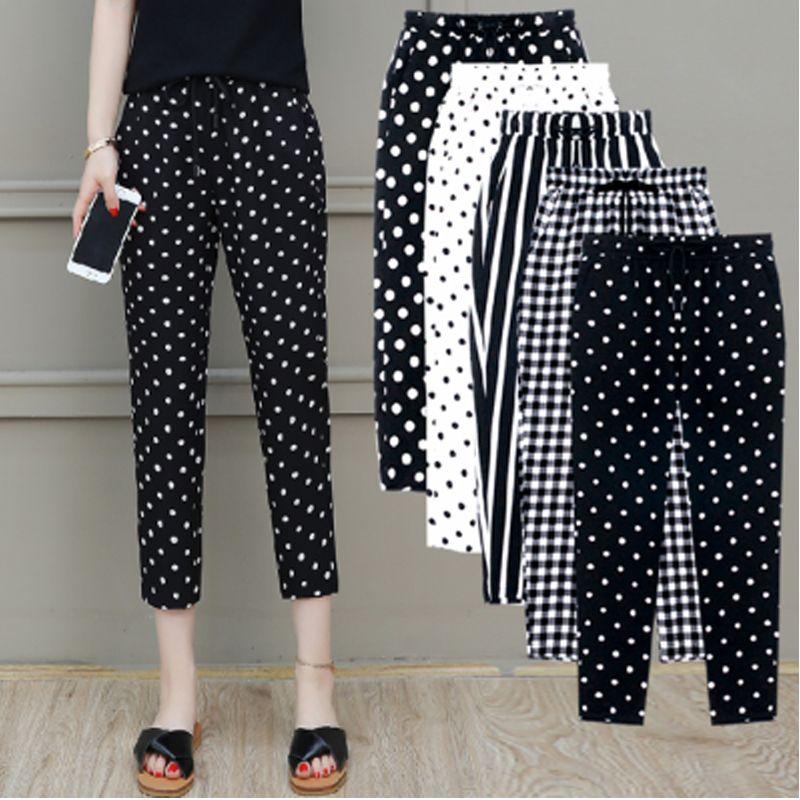 2020 nuevas mujeres del verano pantalones más del tamaño 5XL Mujer Capris tela escocesa de media caña pantalones ocasionales de los pantalones de cordón de punto de rayas Pant