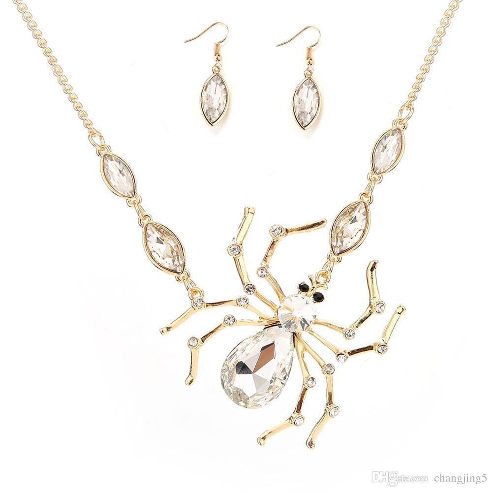 2019 más nueva venta caliente de la araña de Halloween diamante collar mejor regalo de Navidad del día de aleación de moda collar para la mujer