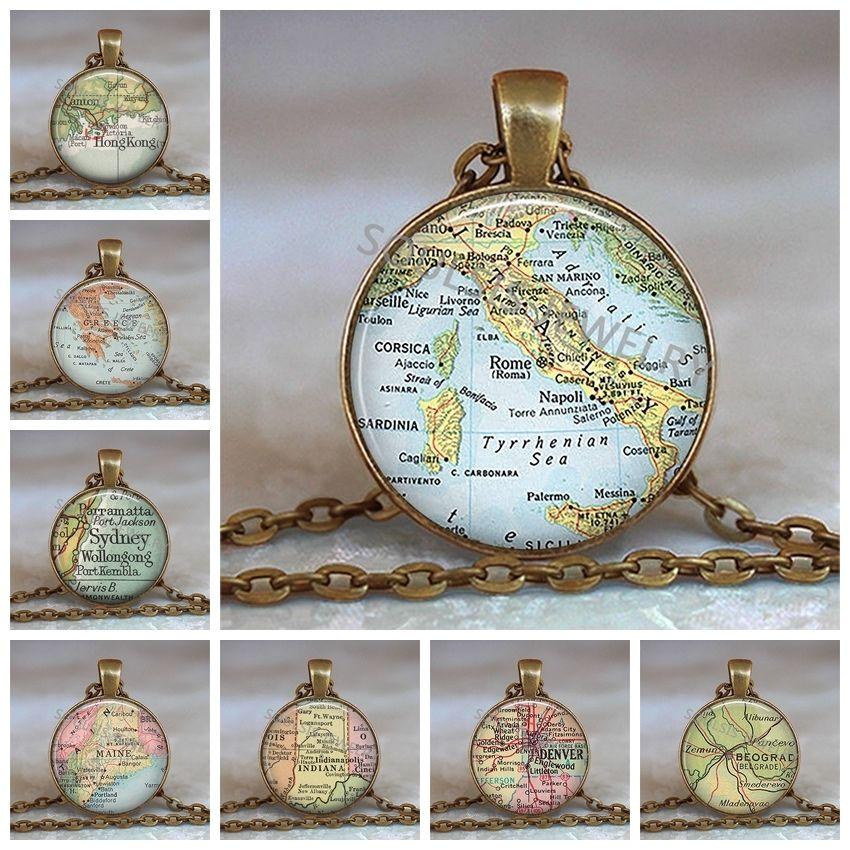 Collar de cúpula de cristal Mapa del mundo Colgante Cadena de bronce Joyería Italia Mapa vintage Collar de cabujón de cristal hecho a mano