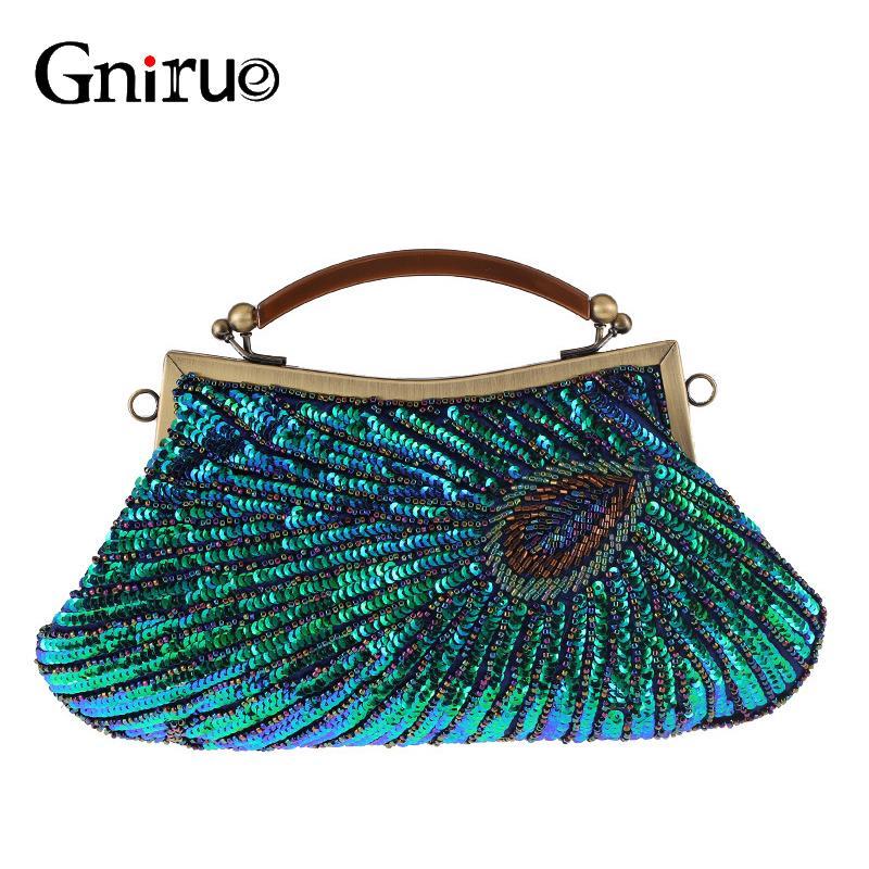 2020 Vintage-Frauen Kupplungen Abendtaschen mit Handgriff Pfau-Muster Pailletten wulstigen Brautkupplungs-Geldbeutel-Minihandtasche
