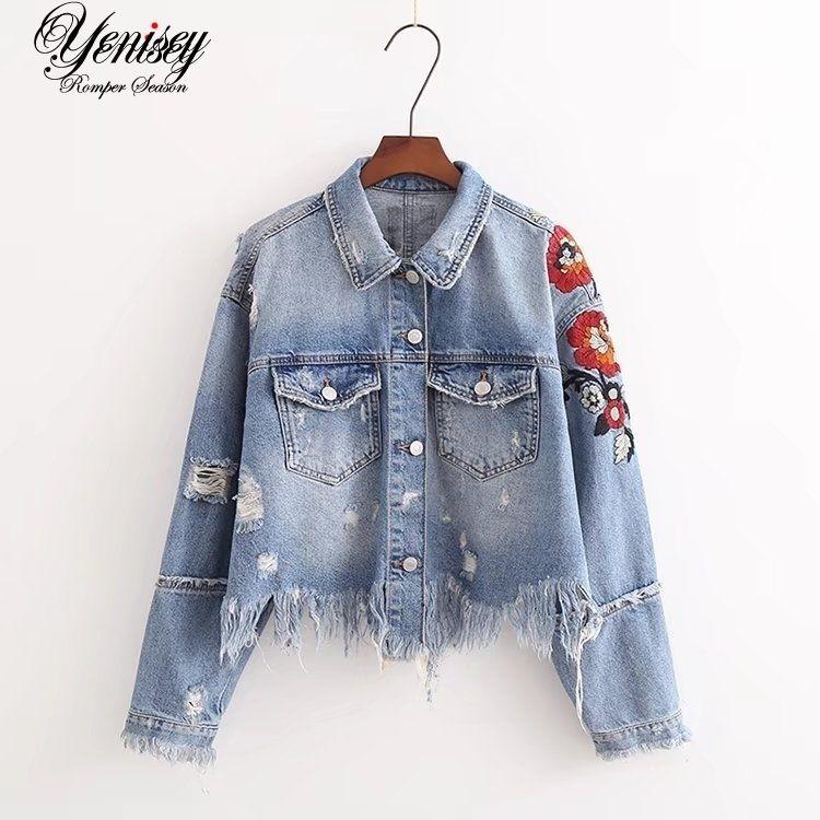 2017 Denim Ceket Kadınlar Denim Ceket Sıcak Satış Doğrudan Satış kollu Coats Tze75 Moda İşlemeli Ceket 0720 Y190921