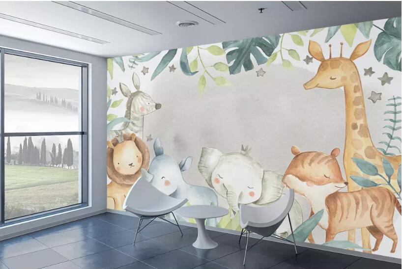Quarto Kid Mundial Bacal encomenda da foto 3D Wallpaper Elephant Giraffe animal do Mural de Fundo 3d papel de parede papel Parede