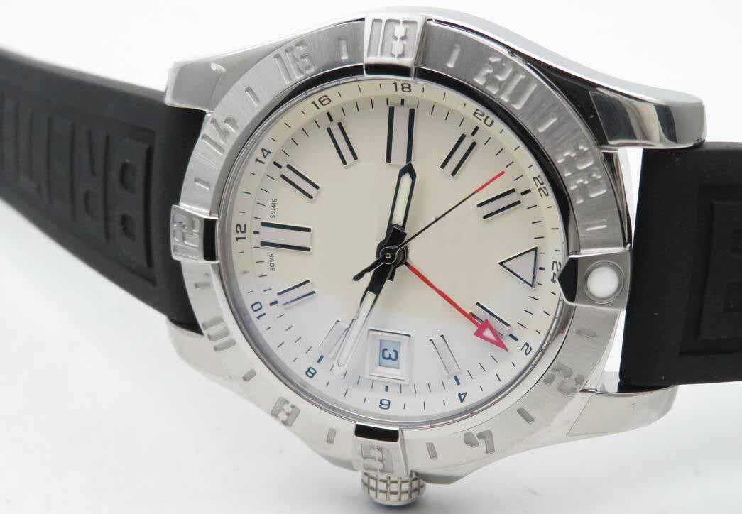 Hombres Mejor Edición GF fábrica ETA 2824-2 Movimiento automático, 25J 28800bph movimiento blanca de Trabajo GMT Automático Negro correa de caucho con el reloj