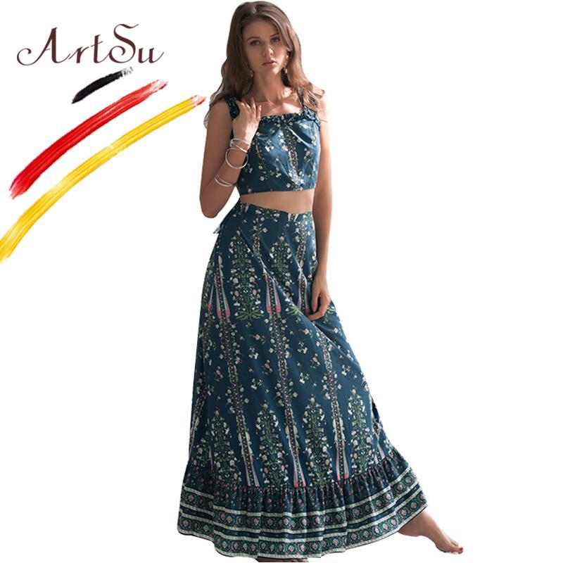 Venta al por mayor Mujeres Boho de dos piezas Set volante vendaje del hombro Sexy Crop Top y falda larga conjunto Vintage Floral Print Outfits verano