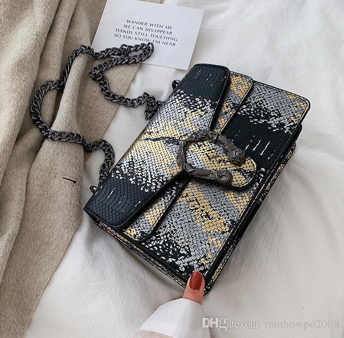 Factory wholesale women handbag new snake chain bag color contrast leather messenger bag fashion snake leather shoulder bag