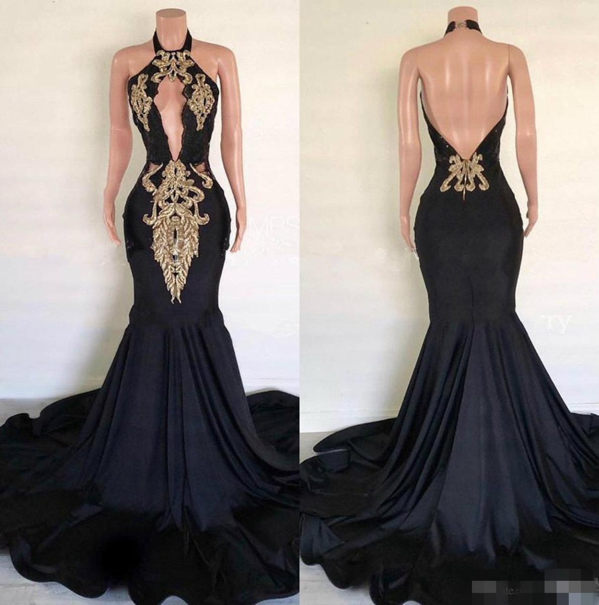 Pizzo applique oro Backless sexy nero Prom Dresses Halter ricamo immerge buco della serratura su ordine del partito degli abiti di sera formale Abbigliamento per occasioni