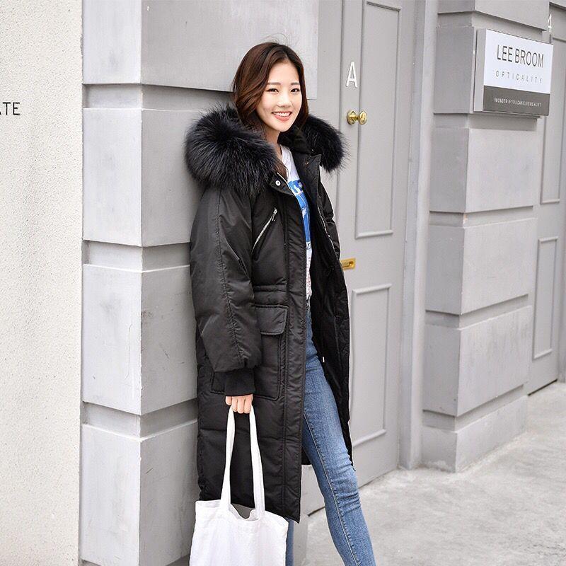 2020 Nouveau surdimensionné Manteaux épais Veste d'hiver à capuchon femmes col de fourrure Manteau de duvet longues en coton Veste Femme Parkas Manteaux
