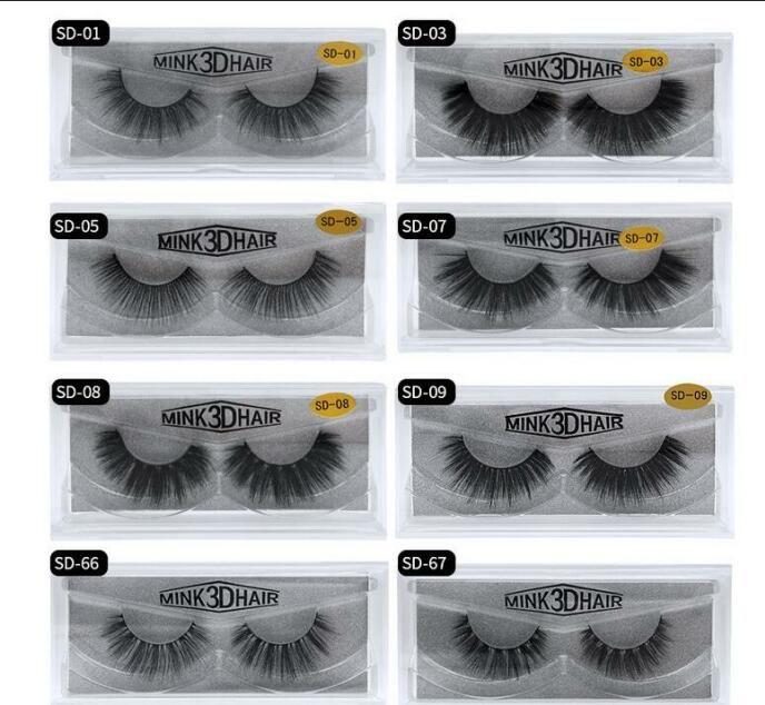 3D False Eyelashes 20 styles Eye makeup Imitated Mink False eyelashes Soft Natural Thick Fake Eyelashes 3D Eye Lashes DHL free shipping