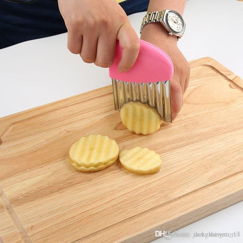 Paslanmaz Patates Dilimleme Dalgalı Kesici Çok fonksiyonlu Patates bıçak Kesiciler Kesme Patates Kızartması Mutfak alet Sebze Araçları