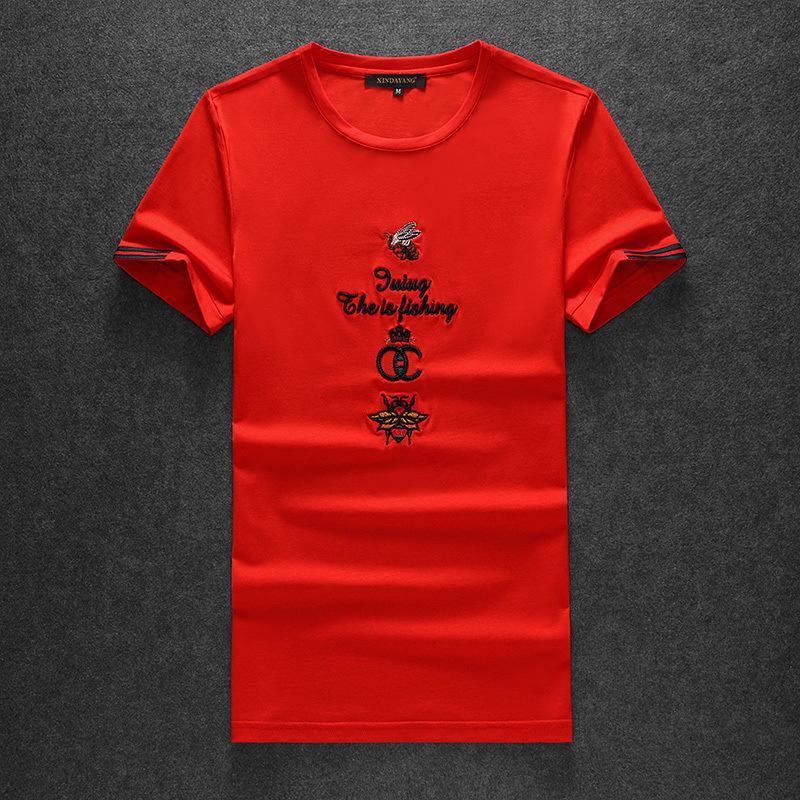 OU442020 kısa kollu T-shirt erkekler Ben moda erkekler işlemeli yarım kollu t-shirt popüler marka erkek taban gömlek