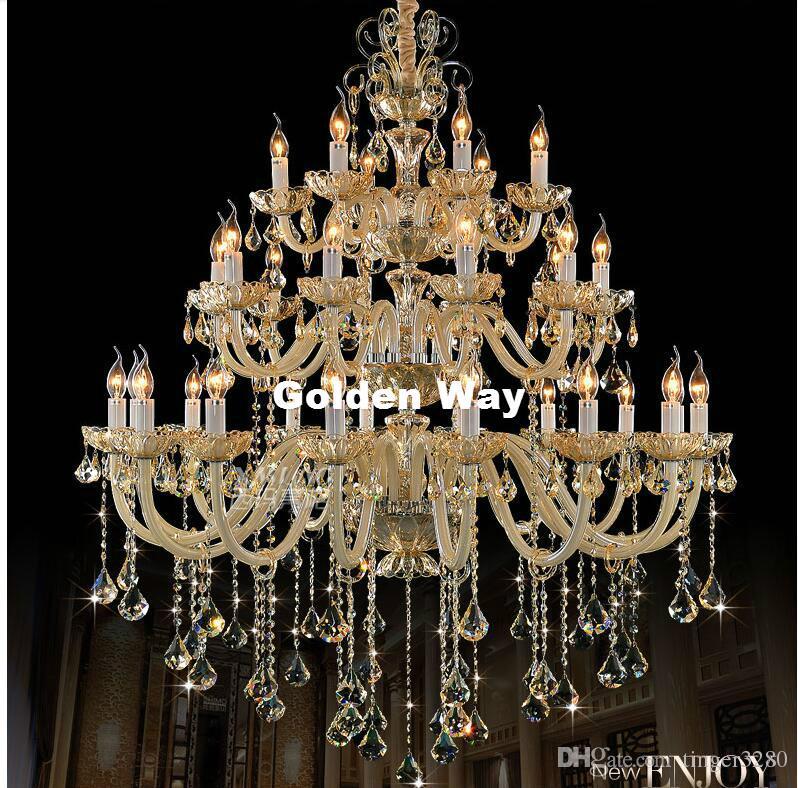 Modern Luxury European Hotel Chandelier E14 LED Lamparas Retro Cognac Lustre Cristal Luster Penthouse Cystal Chandelier