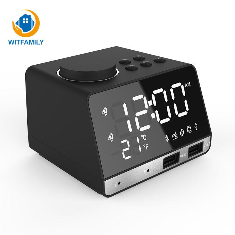 Bluetooth FM Radio desktop Clock Speaker Digital Alarm Clock Temperature 2 USB Ports LED Display Snooze Table mini