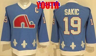 Youth Vintage Quebec Nordiques Hockey Jersey 19 Joe Sakic Baby Blue New Vintage CCM Kids Joe Sakic Stitched Jerseys Cheap C Patch