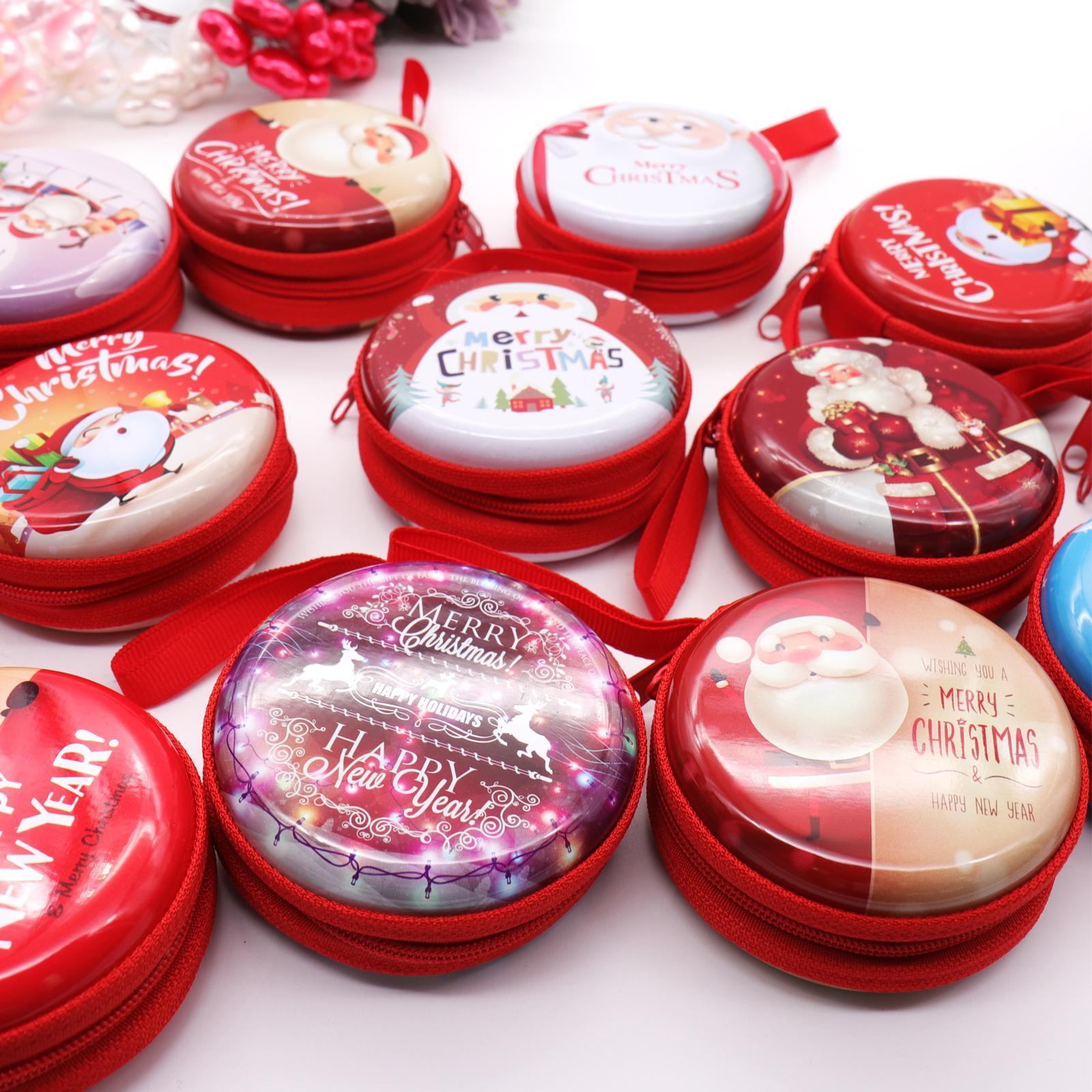7.5x7.5cm Navidad Metal Candy Chocolate Box Santa Claus Colgante Auricular Bolsa Fiesta DIY Decoraciones para niños