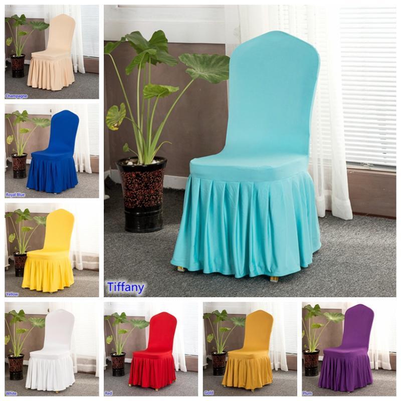 17 Renkler sandalye kapakları elastan likralı evrensel karıştırdı sandalye örtüleri düğün otel banket dekorasyon kalın dantelli etekli