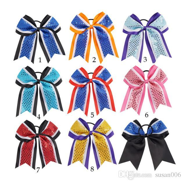 Large Size Cheer Bow Boutique Hair Bow With Hair Ring For Cheerleader Girl Glitter Design Bow-knot Hand Made Hair Accessory Clip