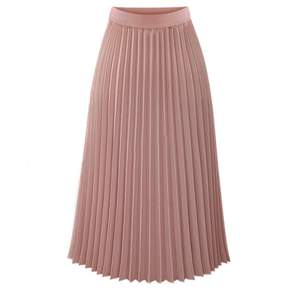 2019 verão nova venda quente modelos femininos Casual plissadas Mid-Calf Womens Sólidos plissadas elegante Midi cintura elástica Maxi Skirt