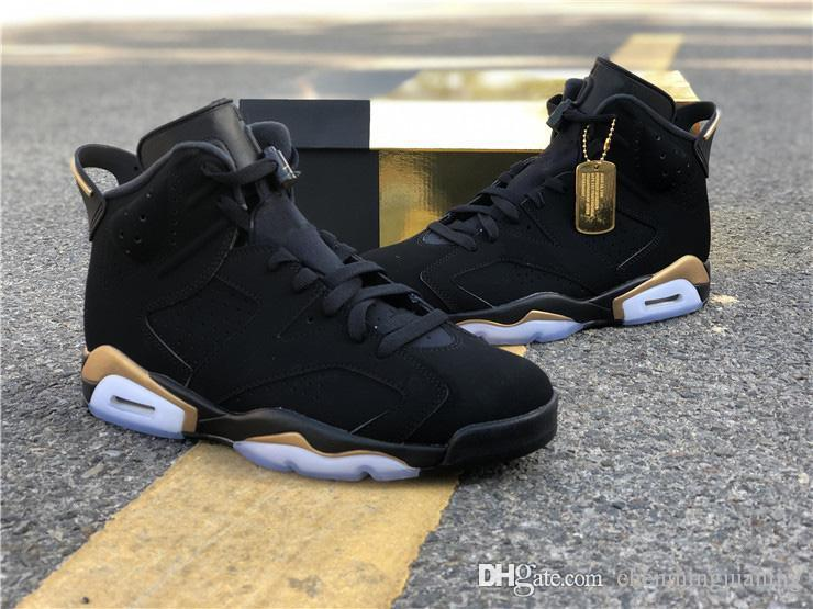 Hot Air Authentic 6 DMP Définition Moment de basket-ball Homme Noir Chaussures Noir nubuck Metallic Gold Retro Sport Chaussures CT4954-007
