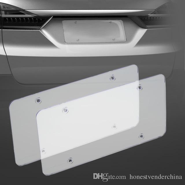 License Plate 2pc Frames Escudo cobertura plana para US Canada Car License Plate Tag Bumpers License Plate Tap Titular Acessó Protector Capa