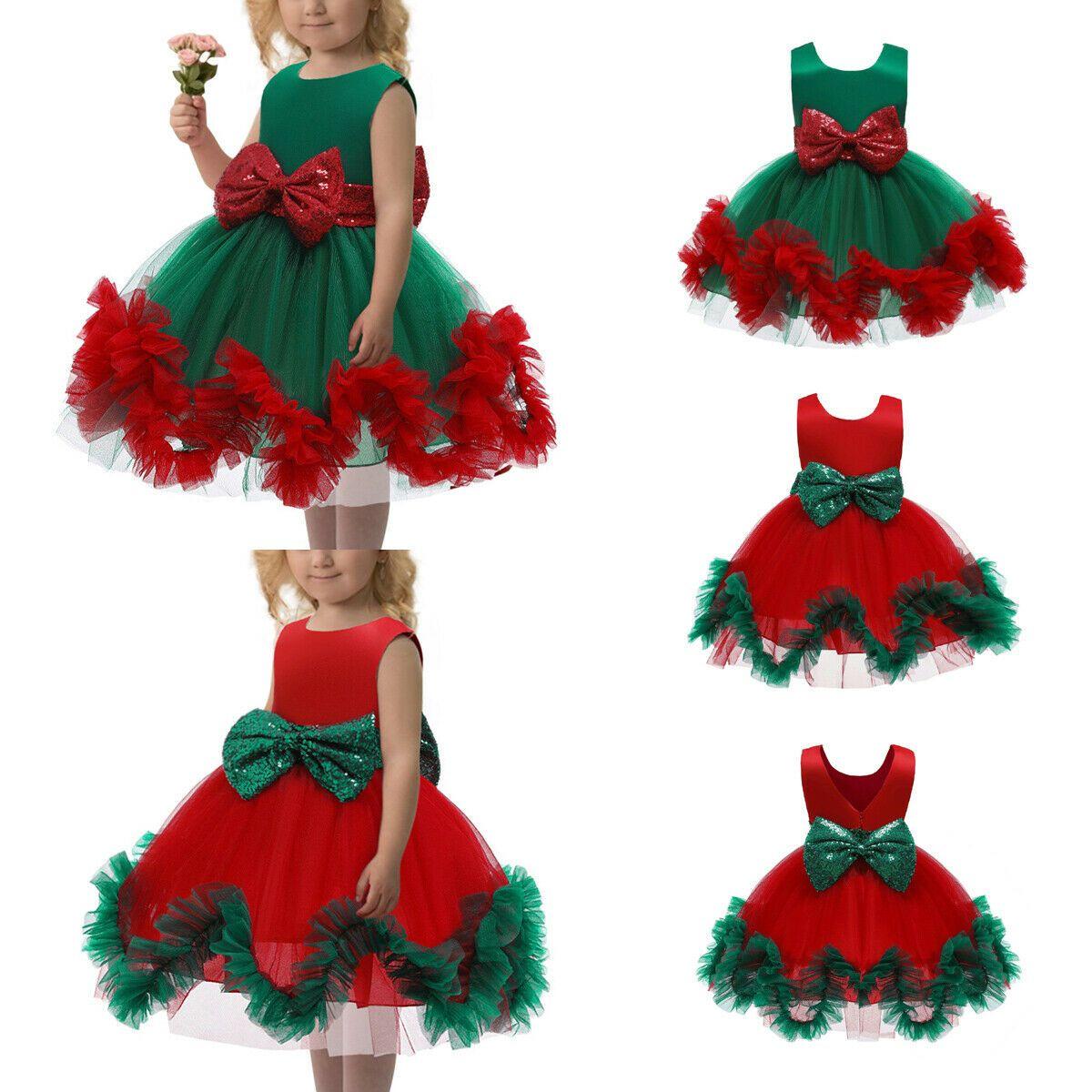 Hot Sell Nuovi modo del bambino delle ragazze dei capretti Christams natale paillettes bowknot nozze principessa partito di Tulle dal tutu
