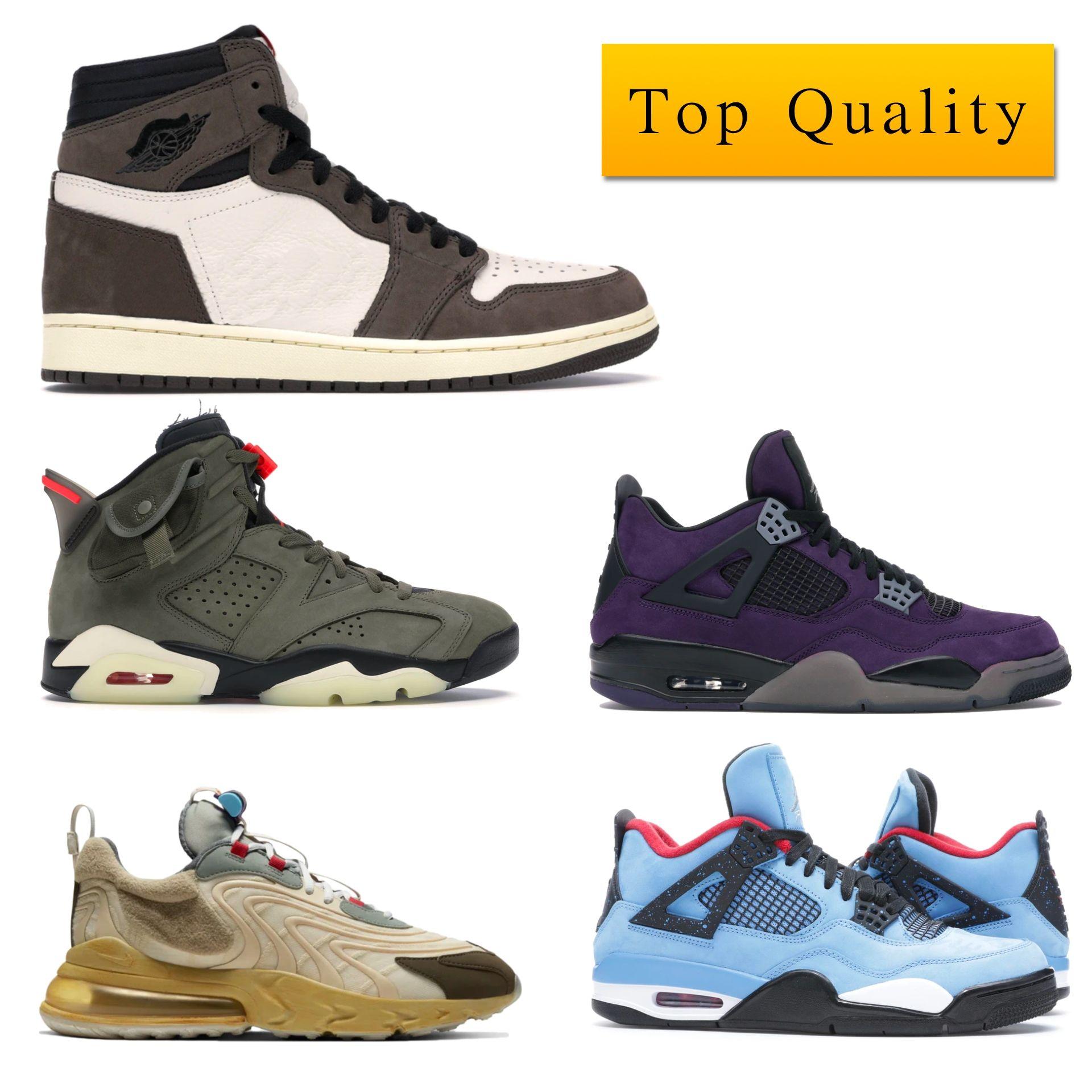 مع صندوق J4 رجل حذاء رياضة أعلى qualtiy ترافيس سكوتس الأرجواني صبار جاك الأهل والأصدقاء 308٬497-406