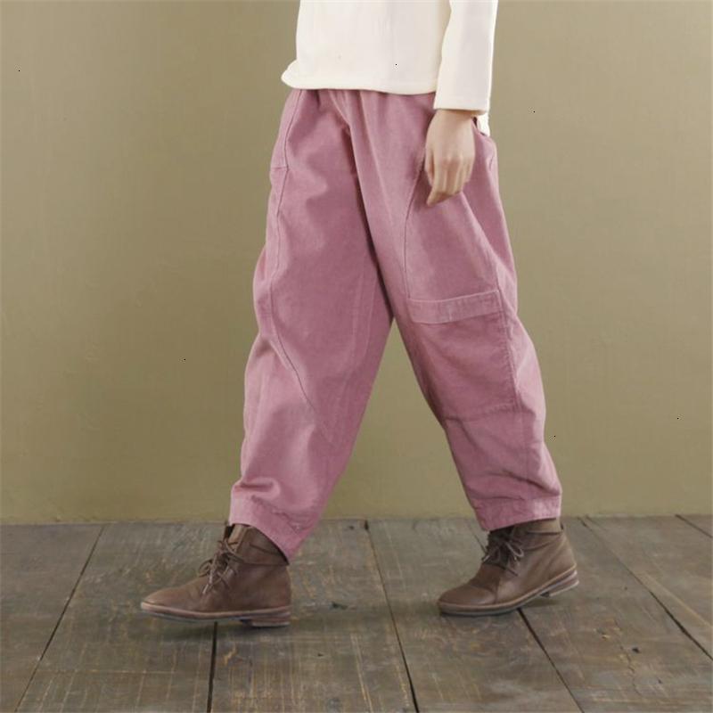 Kadınlar Pantolon Geniş Kadınlar Bacak Elastik Bel 2019 Sonbahar Yeni Gevşek Kısa Cepler Kadınlar Pantolon 3 Renk Kadife Pantolon