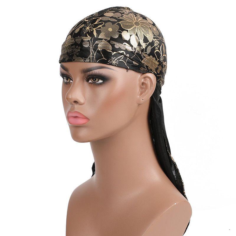 Men Camouflage Headwear Pirate Cap Hat Long Tail Bandana Turban Durag Unique