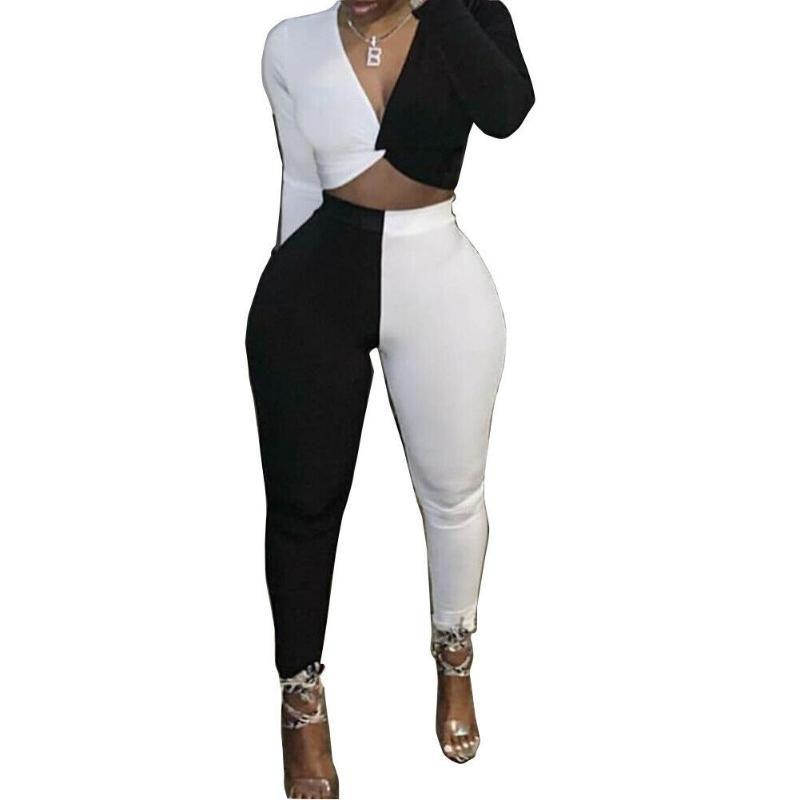 Kadınlar 2adet Kıyafetler Beyaz Ve Siyah Kulübü Partisi Uzun Kollu Renk Patchwork Casual Clubwear Kadın Kıyafet Boyut-2XL S Pantolon Tops
