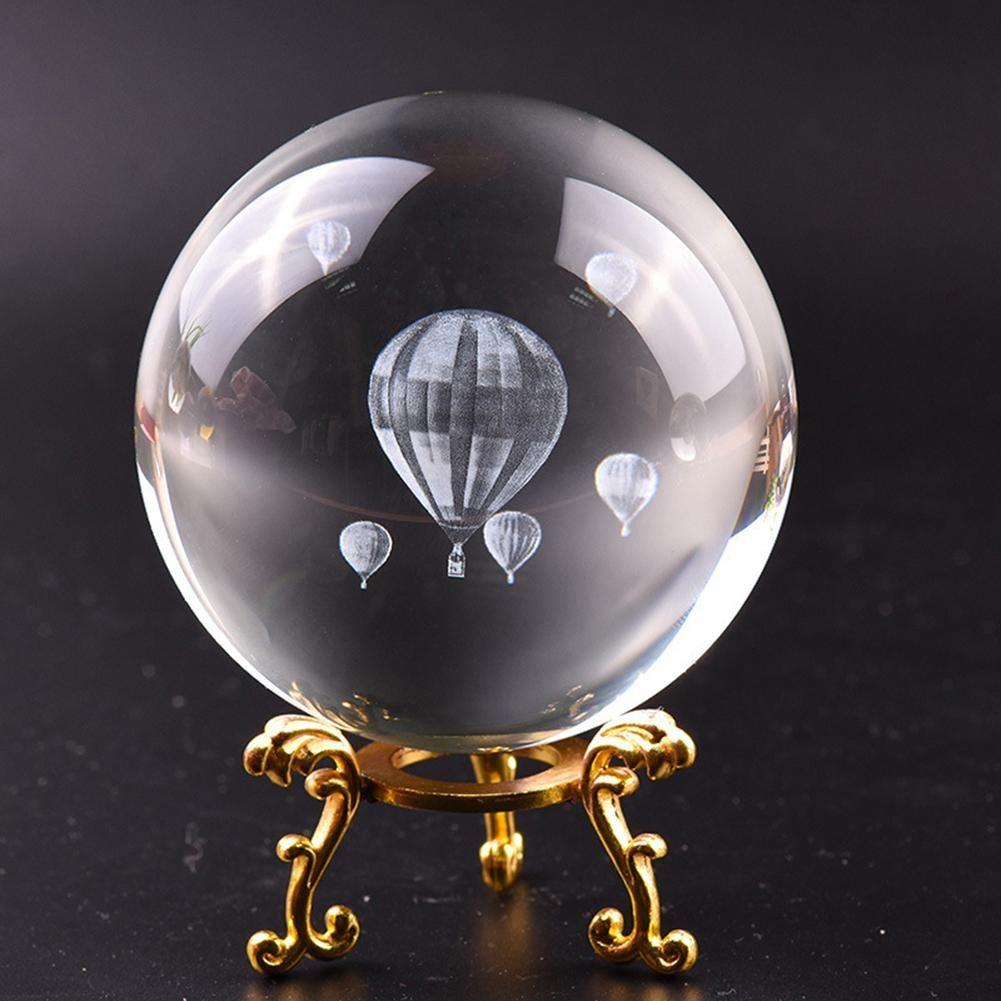8cm Laser Hot Air Balloon 3D Поддельного кристаллическое стекло шарик кварц FengShui Украшение Craft Путешествие Сфотографируйте Главный Декоративный Болл Другого Главный Дек